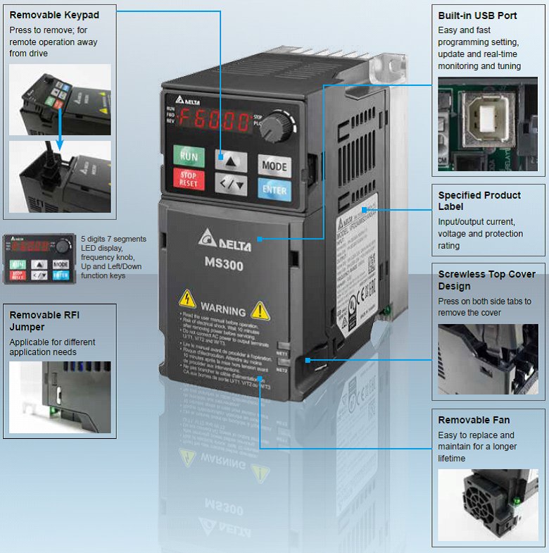 Delta MS300 Series Compact Variable Speed Drive | Mechtric
