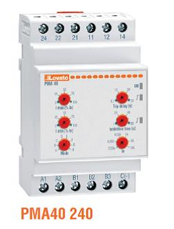 Lovato PMA40 Current Protection Relays. 2 relay outputs, AC/DC min/max control. Single phase.